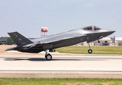 The 300th production F-35 aircraft flies off the flight line at Lockheed Martin in Fort Worth, Texas.