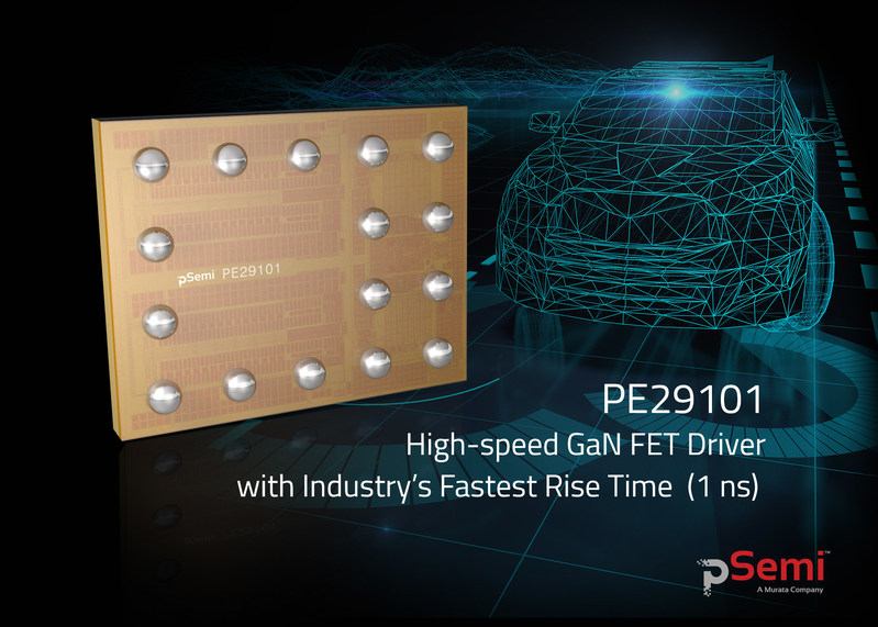 pSemi announces the availability of the PE29101 gallium nitride (GaN) field-effect transistor (FET) driver for solid-state light detection and ranging (LiDAR) systems. The PE29101 boasts the industry's fastest rise times and a low minimum pulse width.