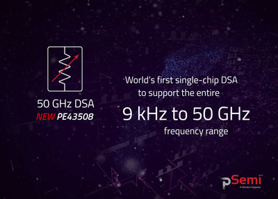 The pSemi PE43508 is the world's first single-chip digital step attenuator (DSA) to support the entire 9 kHz to 50 GHz frequency range.