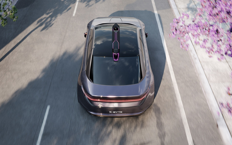 The bow-shaped BYTON LiBow system integrates front and rear lidar sensors to allow for a full-view panoramic scan of the vehicle's surroundings.