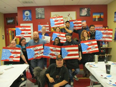 Injured veterans and their guests connected with other warriors and learned how to create their own masterpieces with the help of an experienced painter during a Wounded Warrior Project® event.