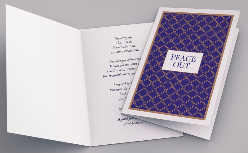 """Pictured: """"Peace Out"""" Advisor Breakup Card (CNW Group/Hennick Wealth Management)"""