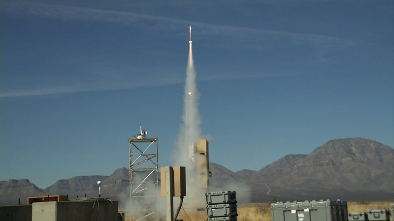 The Lockheed Martin Miniature-Hit-to-Kill missile, pictured during a January 2018 controlled flight test at White Sands Missile Range, was awarded a $2.6 million dollar maturation contract to evaluate its effectiveness and demonstrate manufacturing readiness as part of the Extended Mission Area Missile Program.