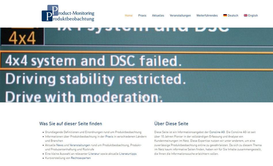 The new platform product-monitoring.com (PRNewsfoto/Consline AG)