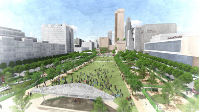 Gene Leahy Mall would rise to street level and feature a lawn for events.