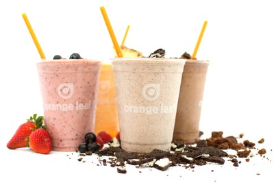 Orange Leaf's smoothies and shakes are the perfect blend of your favorite fruits or sweet treats.
