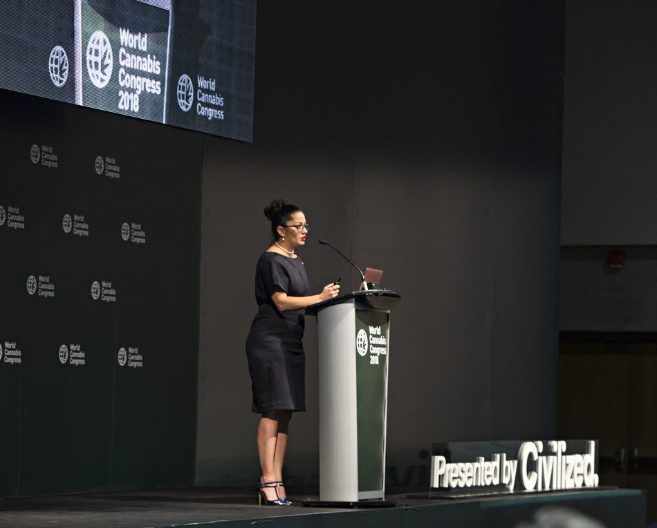 Giadha Aguirre De Carcer, Founder and CEO of New Frontier Data, delivers a key note address to over 400 delegates attending the World Cannabis Conference, presented by Civilized in Saint John, New Brunswick, Canada (CNW Group/Civilized Worldwide Inc. (Civilized))