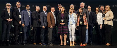Back row: Terri Riedle, Civilized; Chris Weir, EY; Awanish Sinah, McCarthy T�trault LLP; Predrag Stegnajic, T4G; Neil Closner, MedReleaf; Jeffrey Reath, Cansortium Holdings; Jakob Ripshtein, Aphria; Samuel Carsley, GreenStar Brands; Ian Wilms, The Green Organic Dutchman; Jeff Ryan, Canopy Growth; Cynthia Goodwin, Revolution Strategy; Rick Peterson, Blu Communications; Lara Wood, Cannabis NB  Front: Ruth Chun, Up Cannabis; Blaine Pearson, Business of Cannabis; Zamina Walji, PwC Canada (CNW Group/Civilized Worldwide Inc. (Civilized))