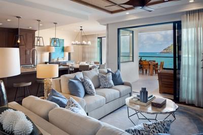 A living room at a Kaiholo residence at Timbers Kauai.