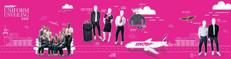 Swoop today unveiled their official uniforms with just over one week to go until the airline's inaugural flight from Hamilton, ON to Abbotsford, BC on June 20, 2018. (CNW Group/Swoop)