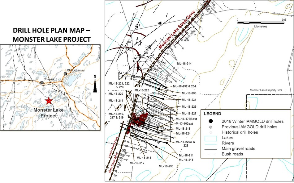 DRILL HOLE PLAN MAP - MONSTER LAKE PROJECT (CNW Group/IAMGOLD Corporation)