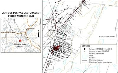 CARTE DE SURFACE DES FORAGES - PROJET MONSTER LAKE (Groupe CNW/IAMGOLD Corporation)