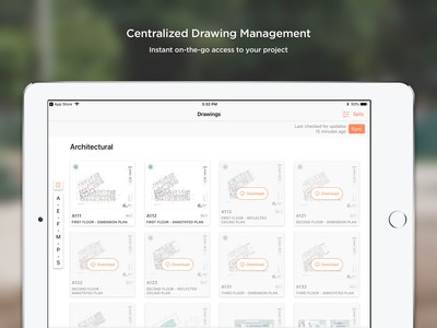 The Drawings tool on Procore for iOS on iPad