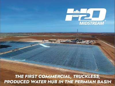 H2O Midstream Produced Water Hub - The first commercial, truckless produced water hub in the Permian Basin. Located in Howard County, Texas, the produced water hub consists of two state-of-the-art 500,000 barrel ponds connected to a network of 10 disposal wells totaling 220,000 barrels per day of capacity via a pipeline network of more than 130 miles. A new 35,000 barrel per day deep Ellenberger disposal well is co-located with the storage.