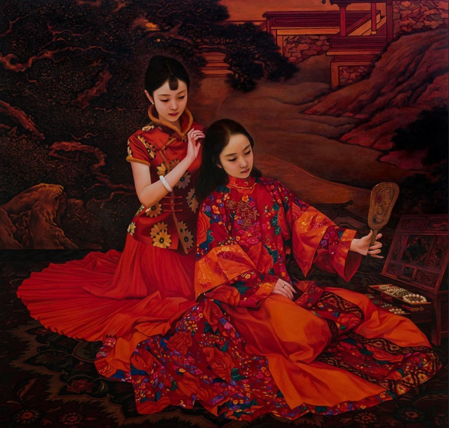 "Oil Painting: The Dressing No.2 by Xue Yanqun. It presents the charm and grace of Chinese women in a ""East-meets-West"" context (CNW Group/Poly Culture North America)"