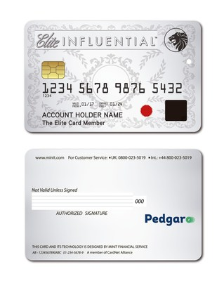 "The Elite Influential Card is a new general purpose reloadable prepaid card with an embedded EMV chip which features an NFC enabling feature and proprietary ""live"" fingerprint sensor that adds a biometric layer for extra security when making card payments."