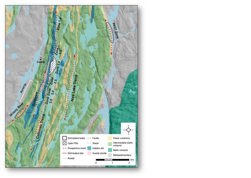 Figure 1. Plan View of Deposits at Colomac (CNW Group/Nighthawk Gold Corp.)