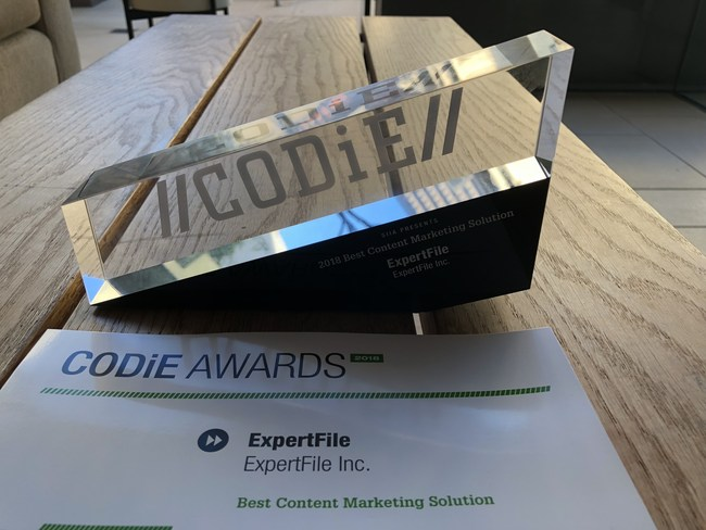 """ExpertFile Wins """"Best Content Marketing Solution"""" Award at 2018 SIIA CODiE Awards Platform simplifies online marketing of experts through multimedia focused profile design and cloud-based global directory accessed by newsrooms worldwide"""