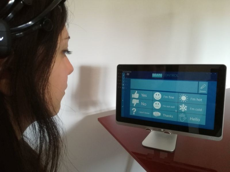 BrainControl was founded in 2010 with the aim of allowing patients in a locked-in condition to interact using a helmet  - that can perform an electroencephalogram -  and a tablet. The proprietary software is based on the Brain-Computer Interface (BCI). The technology interprets the electrical map corresponding to certain brain activities, allowing it to be used to control external devices. Moreover, the device has other biometric sensors which make the product able to assist the patient during all phases of the disease. (PRNewsfoto/Liquidweb)