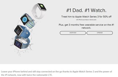 Just in time for Father's Day, C Spire is offering the Apple Watch Series 3 with GPS and Cellular for 50 percent off with the purchase of an eligible iPhone on its device payment plan. The watch is on sale in company retail stores, online at cspire.com and via phone at 1.855.CSPIRE4.