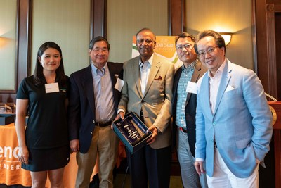"""From L-R: Kate Seitz, Partner, Financial Services Group, RSM US LLP; Jeff Chin, President, Ascend Foundation; Rajive Johri, Board Director at Conagra Brands, Inc.; Hee Lee, Co-Founder of Ascend, Chair of the Ascend Golf Outing Steering Committee, and Partner, EY; and Savio Chan, President & CEO, U.S. China Partners, Inc., Chairman of the Ascend Golf Outing and Best-Selling Author of """"China's Super Consumers"""" at the Second Annual Ascend Charity Golf Outing."""