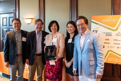 """From L-R: Hee Lee, Co-Founder of Ascend, Chair of the Ascend Golf Outing Steering Committee, and Partner, EY; Jeff Chin, President, Ascend Foundation; Lesley Ma, Global CIO, Cadillac; Kate Seitz, Partner, Financial Services Group, RSM US LLP; and Savio Chan, President & CEO, U.S. China Partners, Inc., Chairman of the Ascend Golf Outing and Best-Selling Author of """"China's Super Consumers"""" at the Second Annual Ascend Charity Golf Outing."""