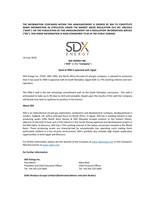 "SDX Energy Inc. (""SDX"" or the ""Company"") - Spud Of SRM-3 Appraisal Well, Egypt (CNW Group/SDX Energy Inc.)"