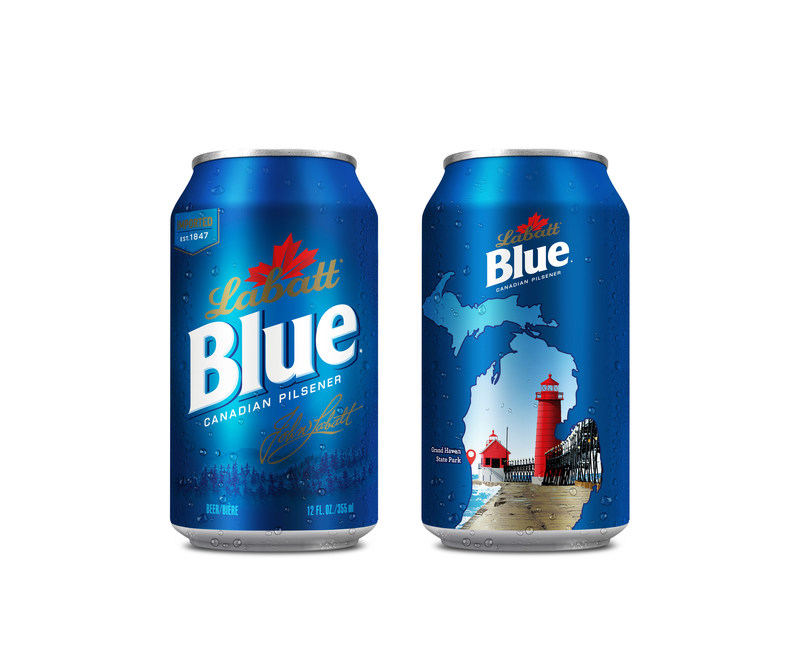 "This summer, Labatt USA will release limited-edition ""Loving Michigan"" graphic cans of Labatt Blue and Labatt Blue Light, which feature popular summer water destinations in Michigan including Mackinac Island, Grand Haven State Park, Turnip Rock and Ambassador Bridge."