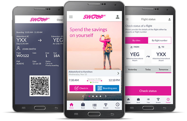 Swoop has launched their mobile app available for iOS 10 or newer, and Android 5 or newer, and can be downloaded from the App Store or Google Play. (CNW Group/Swoop)