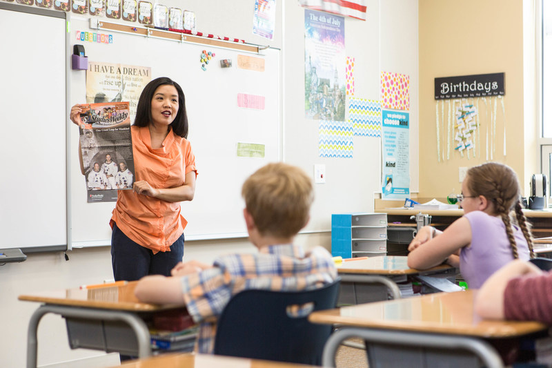 Teacher using Studies Weekly to teach her social studies lesson