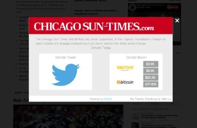 BitWall launched a Bitcoin and Twitter-powered paywall with the Chicago Sun-Times on February 1, 2014.