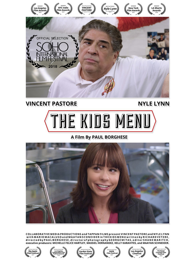 'THE KIDS MENU' starring Nyle Lynn and Vincent Pastore to screen at SOHO Int'l Film Festival on June 17, 2018