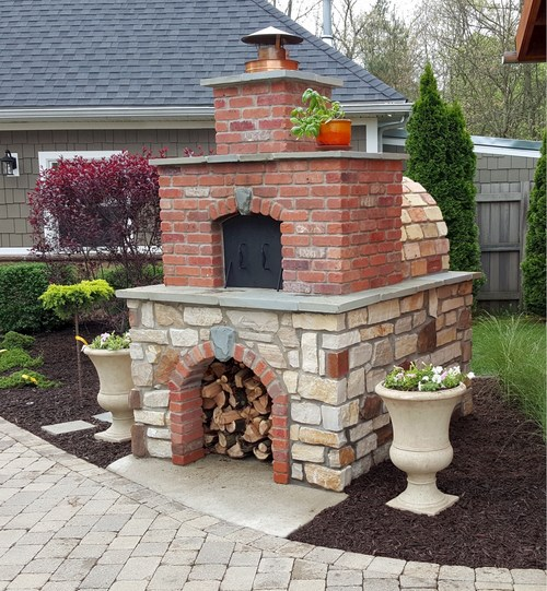 The Hollenbeck Family Wood-Fired Outdoor Brick Pizza Oven in Michigan