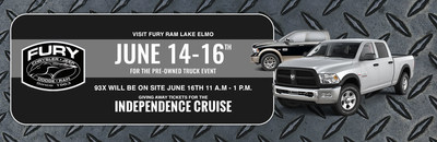Drivers looking for a great used truck, or the chance to win tickets to the Independence Cruise, can visit the Fury Ram Truck Center Used Truck Weekend.