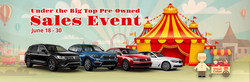 The Under the Big Top Pre-Owned Sales Event at the New BMW and Volkswagen of Topeka (June 18-30) will feature many makes and models with competitive pricing. Find out more online!