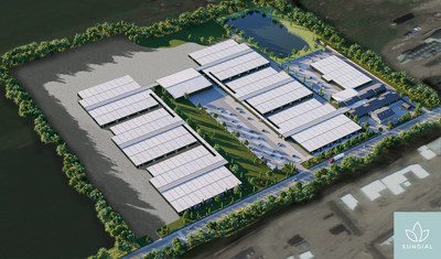 Aerial rendering of Sundial's facility in Olds, Alberta (CNW Group/Sundial Growers)
