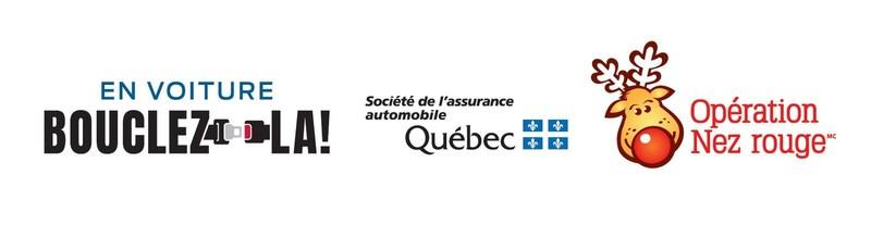 Logos : Bouclez-la!, Société de l'assurance automobile du Québec (SAAQ) et Opération Nez rouge (Groupe CNW/Société de l'assurance automobile du Québec)