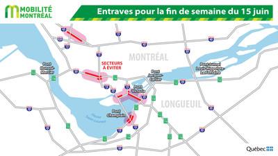 Entraves pour la fin de semaine du 15 juin (Groupe CNW/Ministère des Transports, de la Mobilité durable et de l