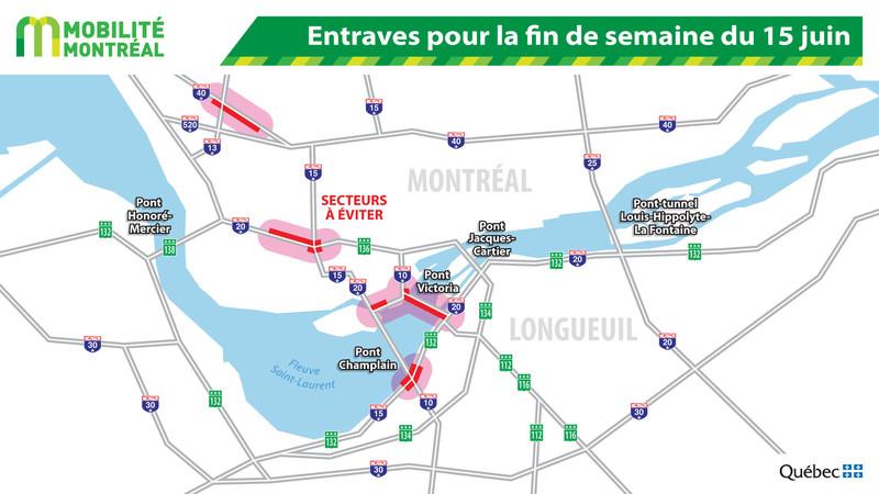 Entraves pour la fin de semaine du 15 juin (Groupe CNW/Ministère des Transports, de la Mobilité durable et de l'Électrification des transports)