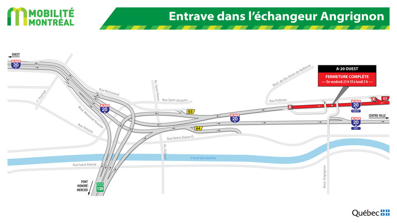 Entrave dans l'échangeur Angrignon (Groupe CNW/Ministère des Transports, de la Mobilité durable et de l'Électrification des transports)