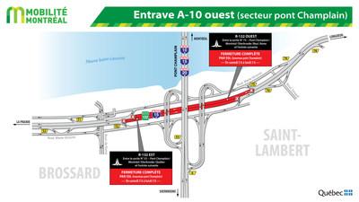 Entrave A-10 ouest (secteur pont Champlain) (Groupe CNW/Ministère des Transports, de la Mobilité durable et de l