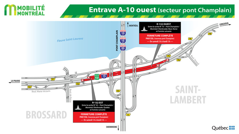 Entrave A-10 ouest (secteur pont Champlain) (Groupe CNW/Ministère des Transports, de la Mobilité durable et de l'Électrification des transports)