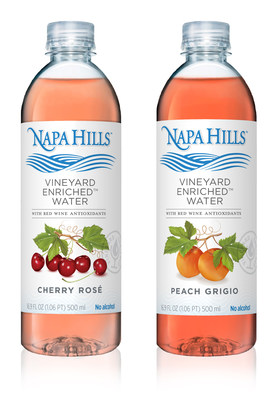 Napa Hills is the first ever naturally-flavored water containing the antioxidant benefits of red wine, without calories, sugar, or alcohol.  Currently available in Cherry Rosé and Peach Grigio flavors, Napa Hills contains purified naturally-flavored water with fruit notes inspired by legendary wine regions and varietals. The ingredients are sustainably sourced.