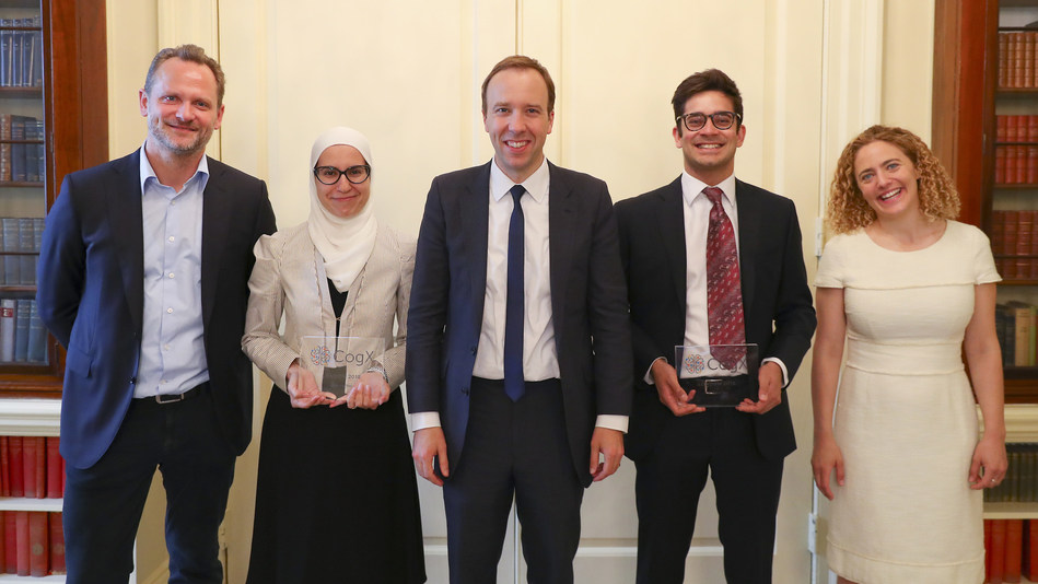 Matt Hancock, Secretary of State for Culture, Media and Sport, with CognitionX co-founders Tabitha Goldstaub and Charlie Muirhead, and CogX Award winners Noor Shaker and Dhruv Ghulati at Number 10 Downing Street (PRNewsfoto/CognitionX)