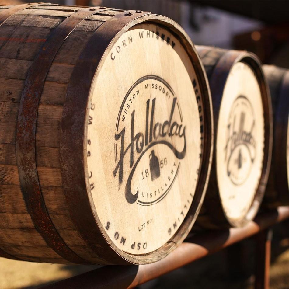 Bourbon Barrels at Holladay DIstillery in Weston, Missouri