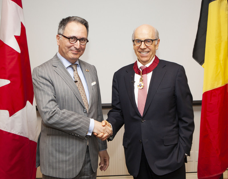 (L to R): Belgian Ambassador Raoul Delcorde and Ontario Teachers' CEO, Ron Mock (CNW Group/Ontario Teachers' Pension Plan)