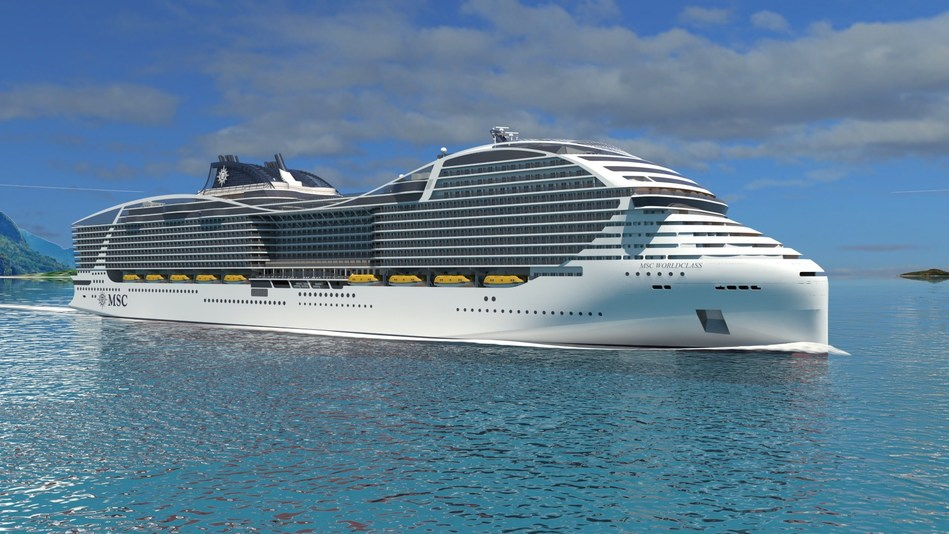 MSC Cruises' World Class will hold a maximum capacity of 6,774 guests (approx. 5,264 at double occupancy).