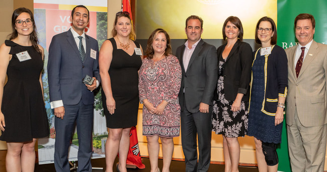 From left to right: Elizabeth Coulombe, Mohammed Assafiri, Marie-Christine Guary, Debi Kleiman, Geoffrey Molson MBA'96, Maripier Tremblay, Diana Prescott-Zais, and Yves Bourget