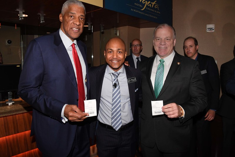 (L to R) Basketball Legend Julius Erving, Borgata President & COO Marcus Glover and New Jersey Senate President Steve Sweeney