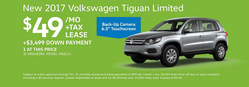 The 2017 Volkswagen Tiguan Limited is available to lease for $49 per month.